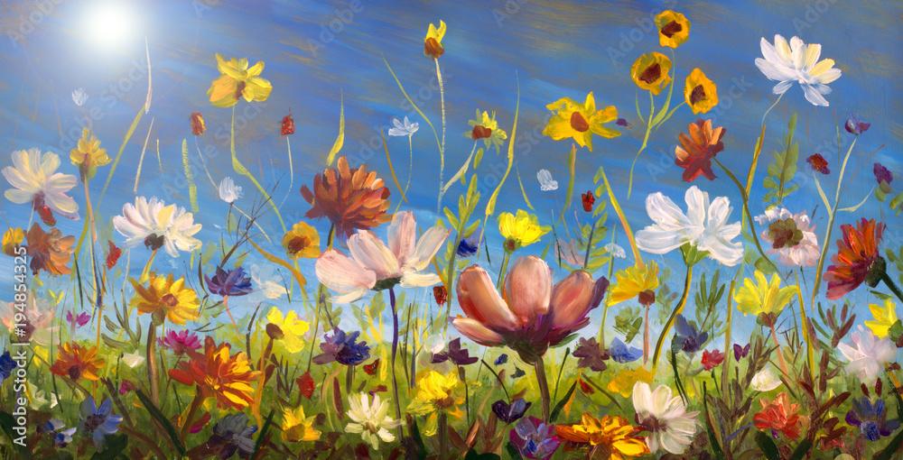 Obraz olejny kwiatów, piękne kwitnące pole kwiatowy grafika na płótnie. Polne kwiaty. Nowoczesny impresjonizm Wielobarwny kwiat jasny lato.