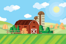 Farm Barn And Grain Storage On Agricultural Field With Haystacks Rural Landscape