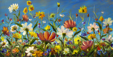 Wildflowers - Original Oil Painting Of Flowers,beautiful Field Flowers On Canvas. Modern Impressionism.Impasto Artwork. Art
