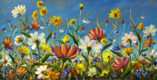 Wildflowers - Original oil painting of flowers,beautiful field flowers on canvas. Modern Impressionism.Impasto artwork. art