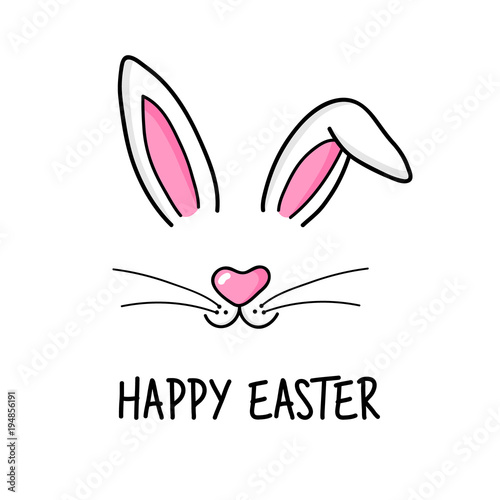 Cute easter bunny vector illustration, hand drawn face of bunny Fototapet