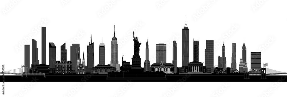 Fotografía New York City skyline silhouette, vector   Europosters.es