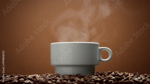 Wall Murals Cafe white cup on coffee beans with steam from hot drink.