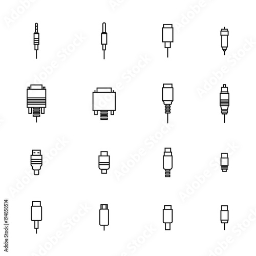 Set of different video and audio connectors, vector illustration. Wallpaper Mural