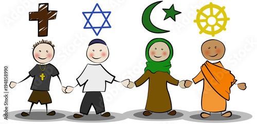 Foto  Christ, Jude, Moslem, Buddhist Hand in Hand