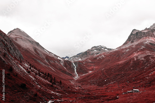 Canvas A view of beautiful landscape and mountains in alps switzerland in color infrare