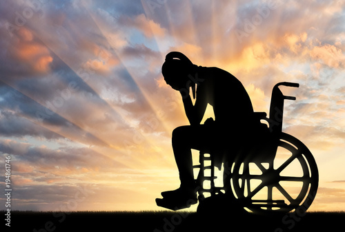 Photo  Concept of people with disabilities experiencing grief for the loss of health