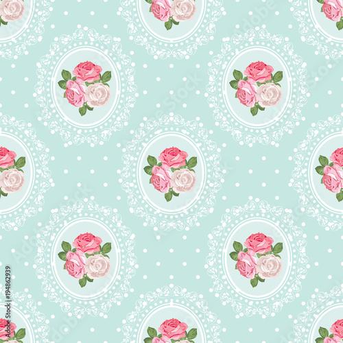 shabby-chic-rose-wzor-na-tle-polka-dot