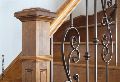 Photo Stands Stairs wood stairs newel handrail staircase home interior classic victorian style