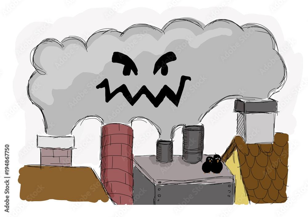 smog w mieście - ilustracja dla dzieci