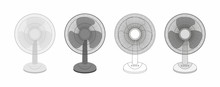 Set Of Table Fan Isolated On ...