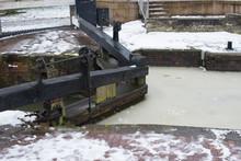 Frozen Wood Canal Lock Gate
