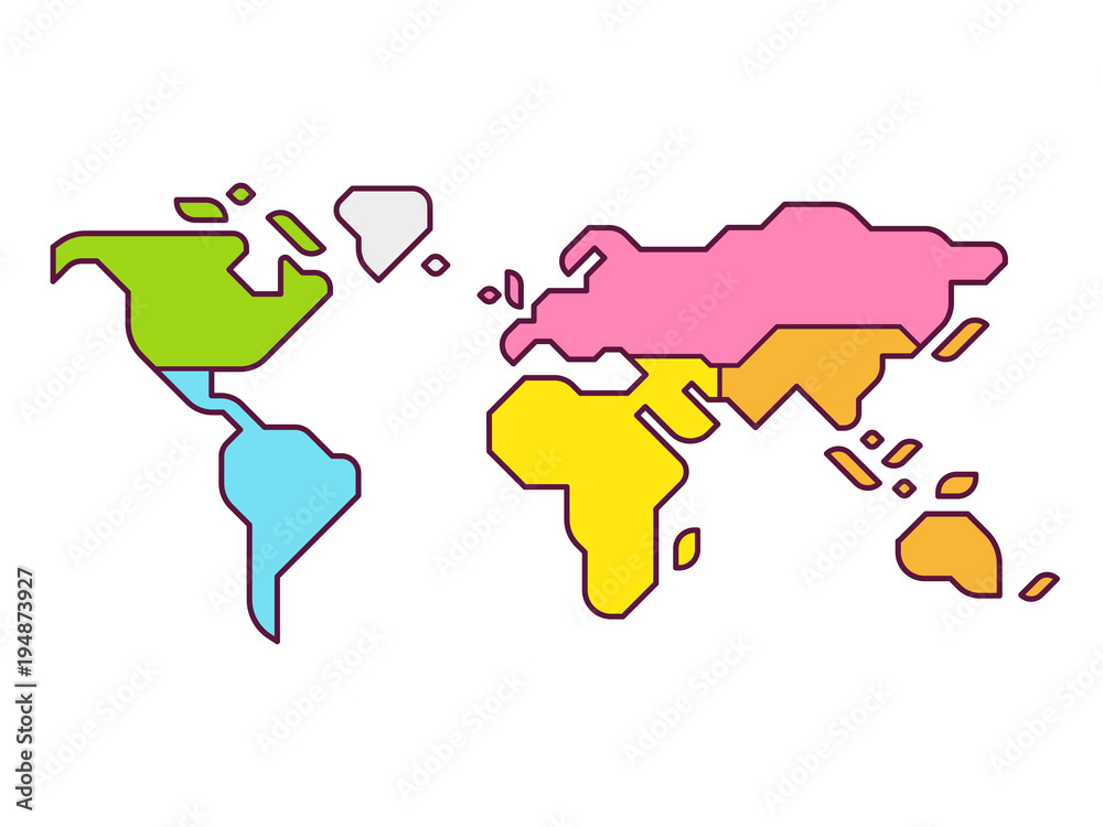 Fototapety, obrazy: World map continents