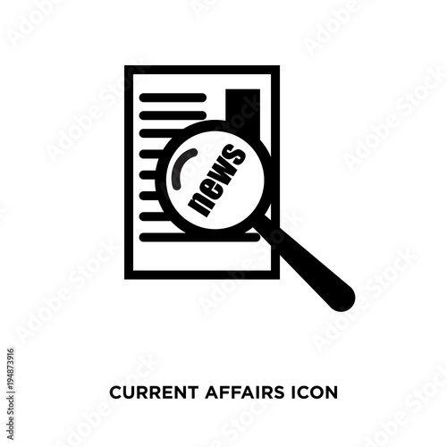 фотография  current affairs icon, flat vector sign isolated on green background
