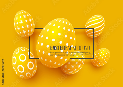 Abstract Easter yellow background Canvas Print