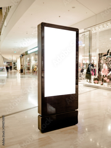 Fotografía  Digital media blank black and white screen modern panel, signboard for advertisement design in a shopping center, gallery