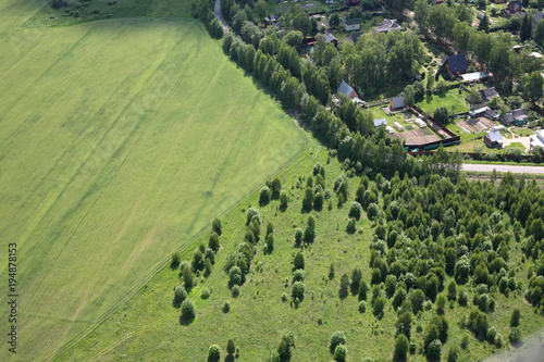 Poster Luchtfoto Aerial View - Russian village, meadows and fields