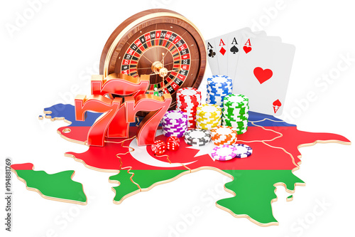 Casino and gambling industry in Azerbaijan concept, 3D rendering плакат