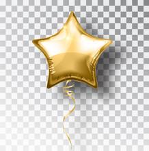 Star Gold Balloon On Transpare...