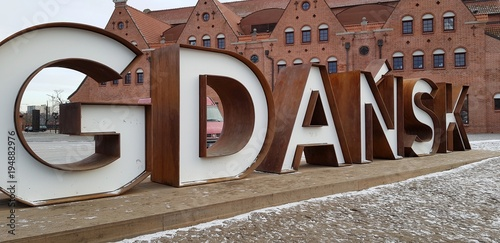 Gdańsk. Napis Wallpaper Mural