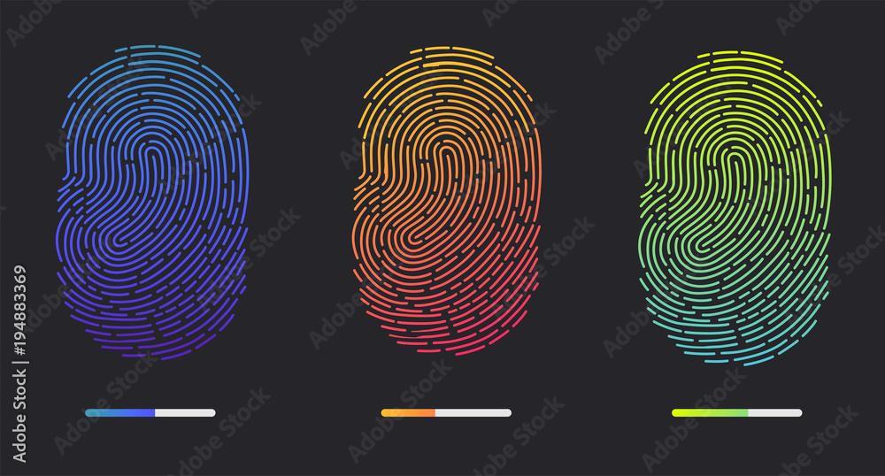 Fototapety, obrazy: Fingerprints. Illustration of the fingerprint of different colors on a black background. Vector illustration Eps10 file