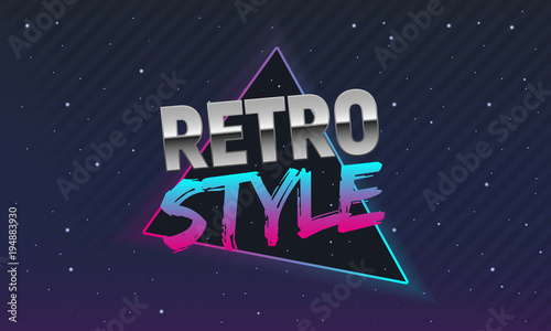 The poster in Retro style. Old style banner. Retro style disco. 80s background