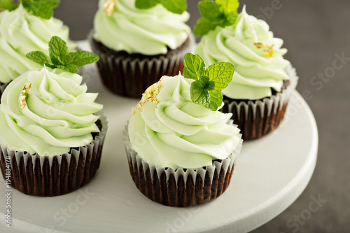 Photo Chocolate mint cupcakes with green frosting