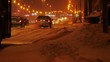 Winter traffic driving in the city, during heavy snow storm. Minsk, Belarus.