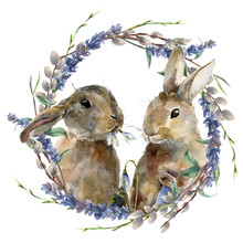 Watercolor Easter Bunny With F...
