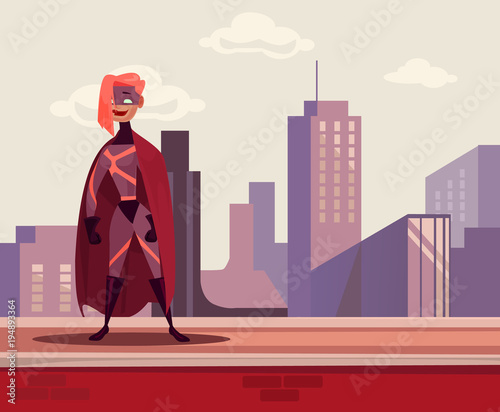 Photo  Super woman hero character standing on roof