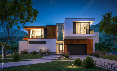 Cuadros en Lienzo  3d rendering of modern house by the river at night