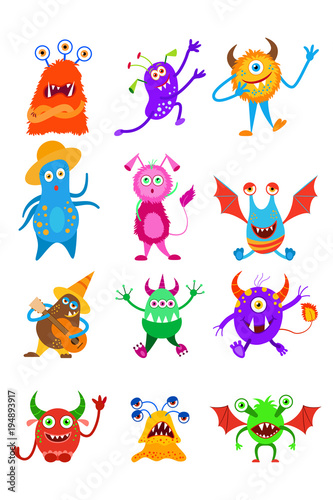 Funny fantasy monster collection. Fairy monster set. Decorative element for your design for Halloween, cards and other.