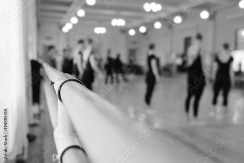 The ballet troupe rehearses in a ballet class