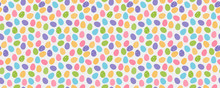 Design Of Easter Wrapping Paper With Colorful Eggs - Seamless Background. Vector.