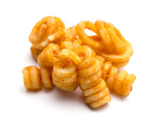 Seasoned Curly Fries On A Whit...