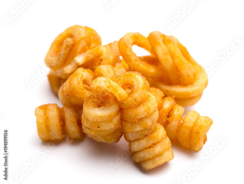 Photo Seasoned Curly Fries on a White Background