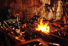 Blacksmith Tools In A Hot Oven...