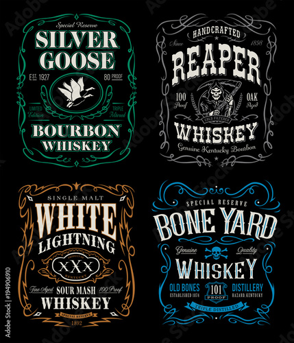Fotografia Whiskey label t-shirt graphics set