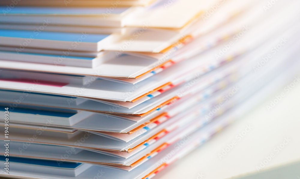 Fototapeta Stack of report paper documents for business desk, Business papers for Annual Report files, Document is written,presented. Business offices concept, soft focus