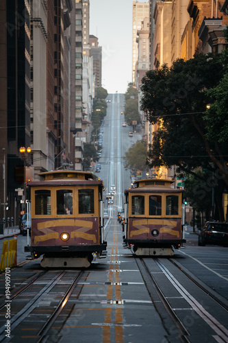 San Francisco Cable Cars on California Street at sunset, California, USA