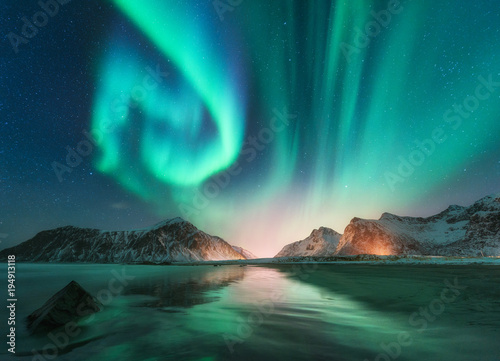 Aurora borealis in Lofoten islands, Norway Poster