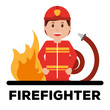 firefighter character professional avatar typography red background vector illustration