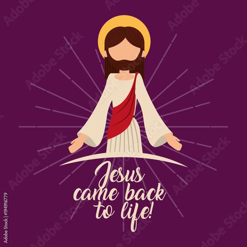 Stampa su Tela jesus come back to life resurrection spiritual vector illustration