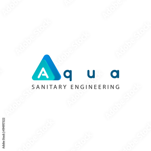 The Letter A The Word Aqua Design Element Logo Sign Icon