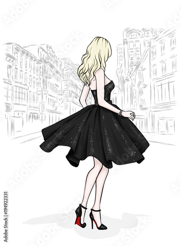 A beautiful slender girl with long legs in fashionable clothes. A model in a skirt, top and high-heeled shoes. Vector illustration. Clothing, accessories, fashion and style.  Wall mural
