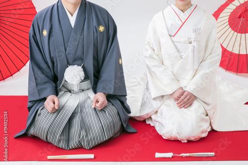 Fotografie, Obraz  和装を着た結婚式の男女写真