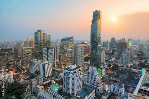 Spoed Foto op Canvas Bangkok Bangkok modern office buildings, condominium in Bangkok city downtown with sunset sky , Bangkok , Thailand