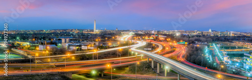 Poster Autoroute nuit Washington, D.C. city skyline