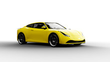 Yellow Sports Car Isolated On ...