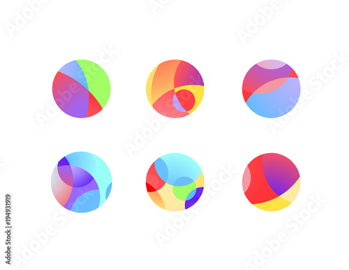 Abstract circular sphere icons with overlapping circles and round shapes Fototapete